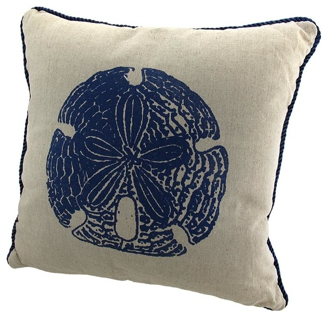 Linen Sand Dollar Decorative Throw Pillow With Navy Blue