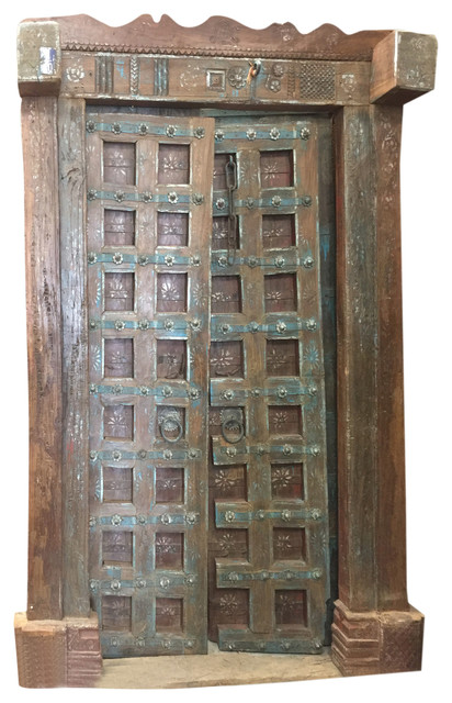Consigned, Antique Doors Floral Patina Vintage Indian Architecture Haveli  Door - Consigned, Antique Doors Floral Patina Vintage Indian Architecture
