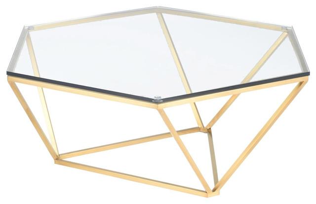 Louisa Coffee Table Glass Top Coffee Table Hexagon Diamond Shaped