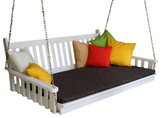 6&x27; Pine Swing Bed, Traditional English, Black.