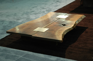 coffee table with walnut slabs and stanless steel inserts. Black Bedroom Furniture Sets. Home Design Ideas