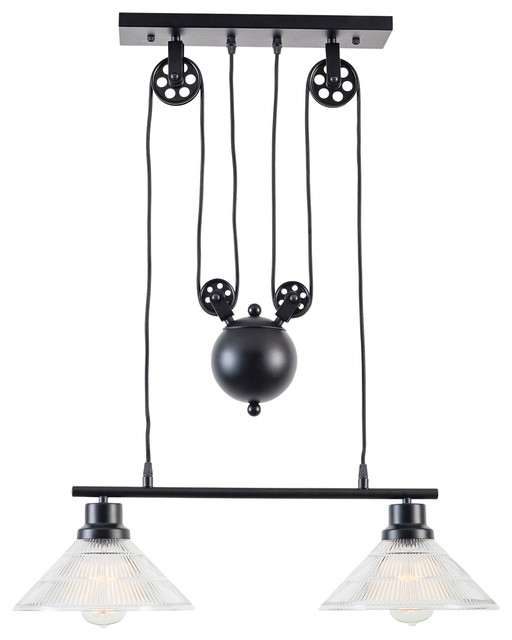 First of a kind Technica 2-Light Pulley Island Pendant - Kitchen Island Lighting | Houzz