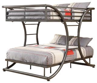 Full Over Full Size Modern Metal Bunk Bed Frame, Gunmetal Finish