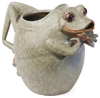Ceramic Frog Pitcher Vase Eclectic Vases Chicago By Cozy