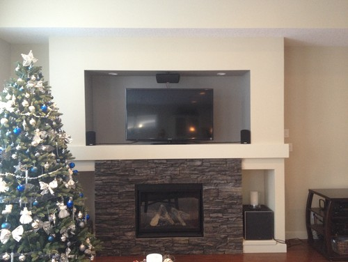 I am looking for suggestions on what to place on either side of the TV in this niche. It needs something