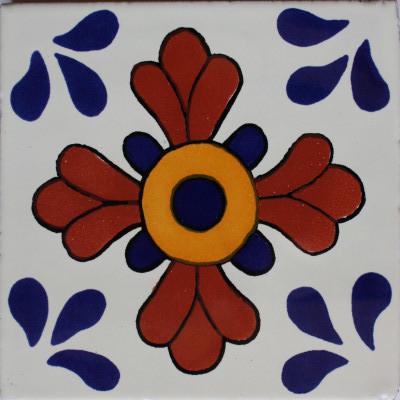 2x2 36 Pcs Blue Seville Talavera Mexican Tile.