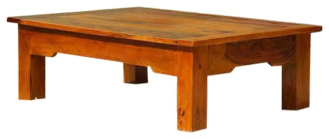 Low Height Wood Mission Cocktail Coffee Table.