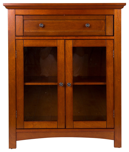 """32""""h Wooden Shelved Floor Storage Cabinet With 1 Drawer And Double Doo."""