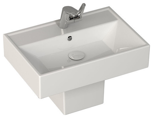 ... Fireclay Semi Pedestal Siphon Cover, White contemporary-bathroom-sinks