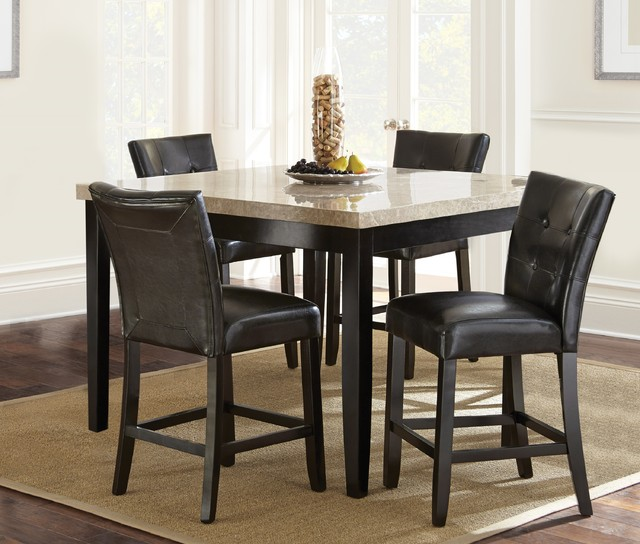 Counter Height Parsons Chair In Black Faux Leather Set Of