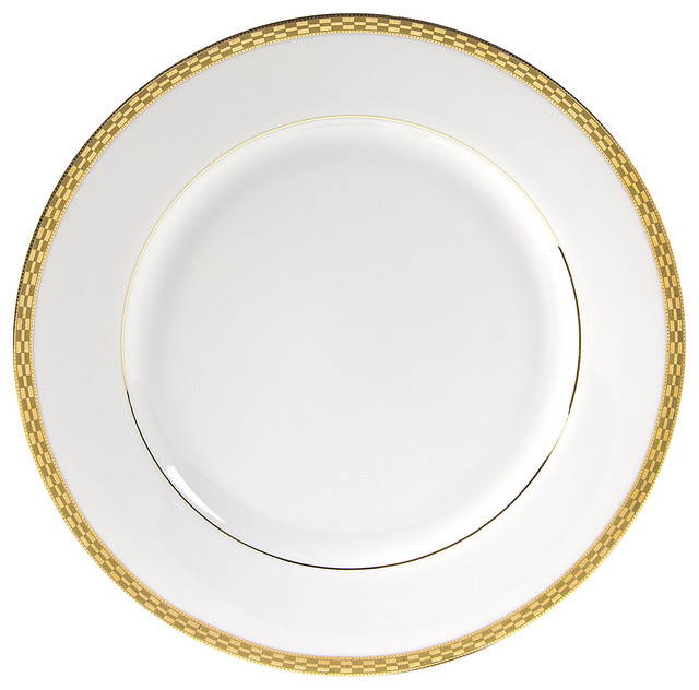 Athens Dinner Plates Set of 6 Gold  sc 1 st  Houzz & Athens Dinner Plates Set of 6 - Transitional - Dinner Plates - by ...