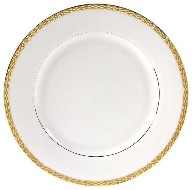 Athens Dinner Plate, Set Of 6, Gold Transitional Dinner Plates