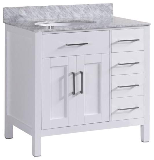 Felicity Bathroom Vanity With Marble Top White 36