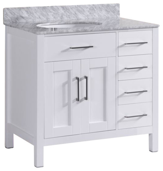"felicity bathroom vanity with marble top, white, 36"" - traditional"