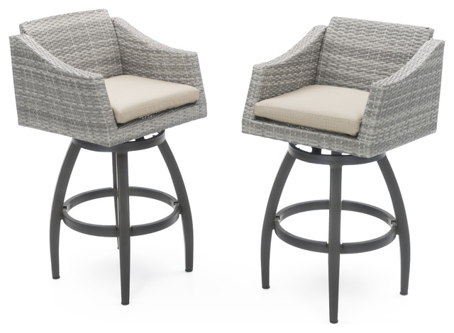 Fabulous Cannes Swivel Outdoor Bar Stools Set Of 2 By Rst Brands Sand Gmtry Best Dining Table And Chair Ideas Images Gmtryco