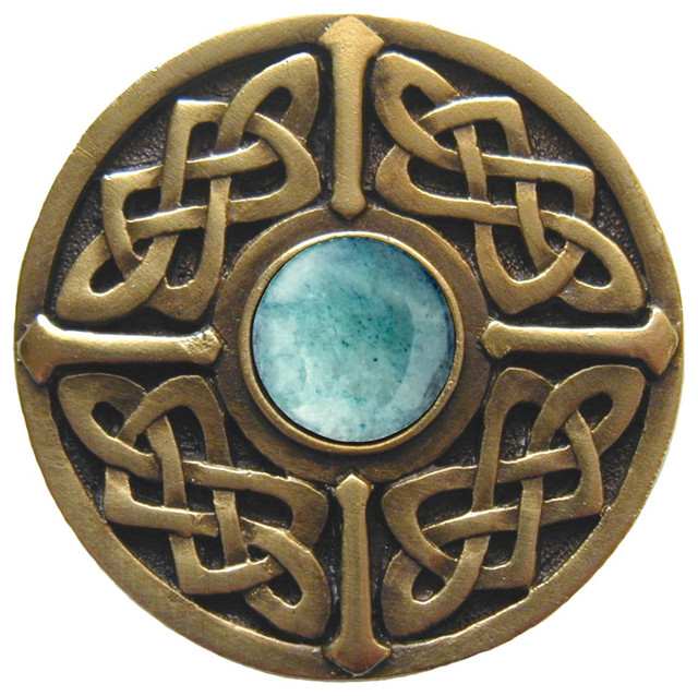 Celtic Jewel Knob Antique Brass, Blue Sodalite Natural Stone - Cabinet And Drawer Knobs - by ...
