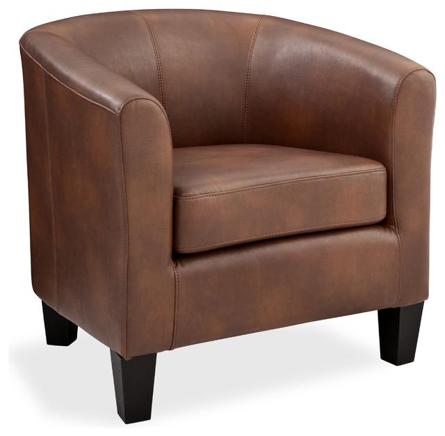 Miraculous Grafton Home Ellen Bonded Leather Tub Chair Saddle Brown Creativecarmelina Interior Chair Design Creativecarmelinacom