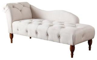 Abbyson Living Charlotte Tufted Velvet Chaise Lounge, Ivory - Indoor ...