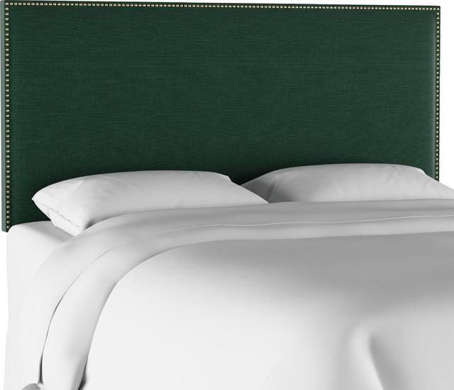 Nail Button Border Headboard, Linen Conifer Green, Queen.