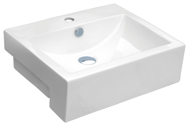 "Vanity Fantasies ""apron"" Porcelain Rectangular Vessel Sink, White. -1"