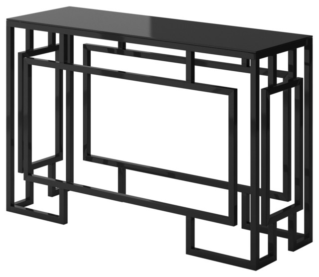 alice modern console table with black metal frame - Modern Console Tables
