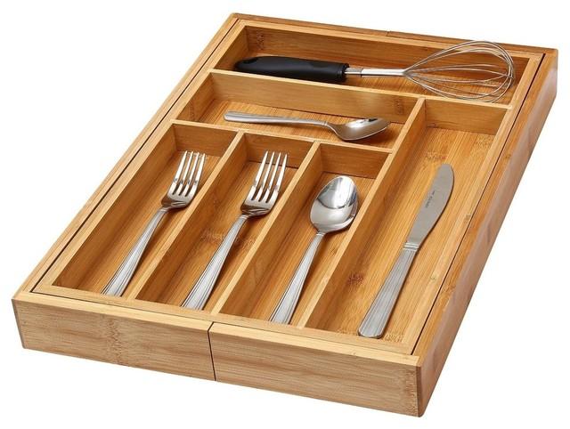 6-Compartment Kitchen Utensil, Flatware, Cutlery Drawer Organizer Tray.