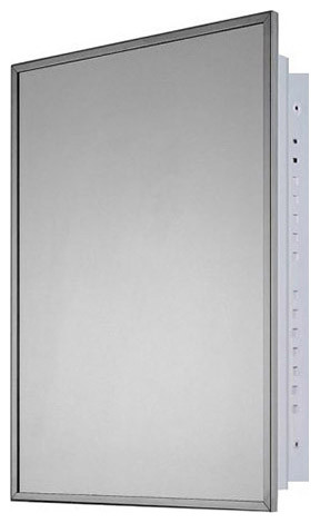 """Medicine Cabinet, 16""""x22"""", Bright Annealed Stainless Steel Frame, Recessed"""