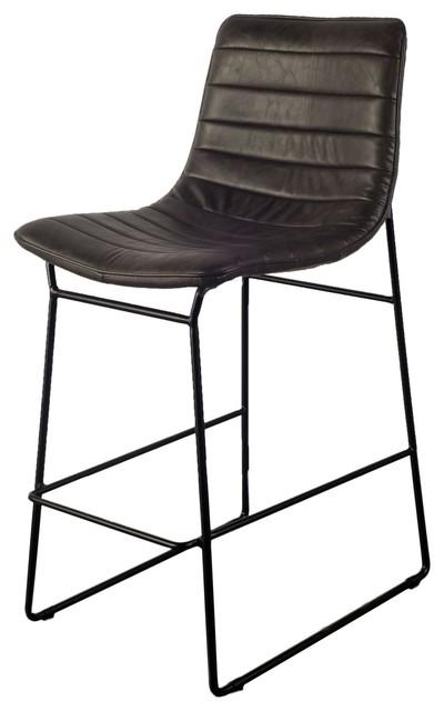 Peachy Parley Bar Stool Ebony Black Leather Rustic Legs Machost Co Dining Chair Design Ideas Machostcouk