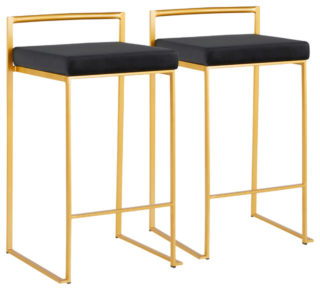 Lumisource Fuji Counter Stool, Gold With Black Velvet, Set of 2