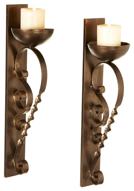 Antique-Style Gold Twisted Pillar Wall Sconces, Set of 2 - Contemporary - Wall Sconces - by ...