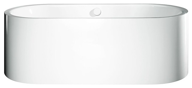 1128 Centro Duo Oval, All Steel One Piece Panel And Leveling Feet Bathtub, White.
