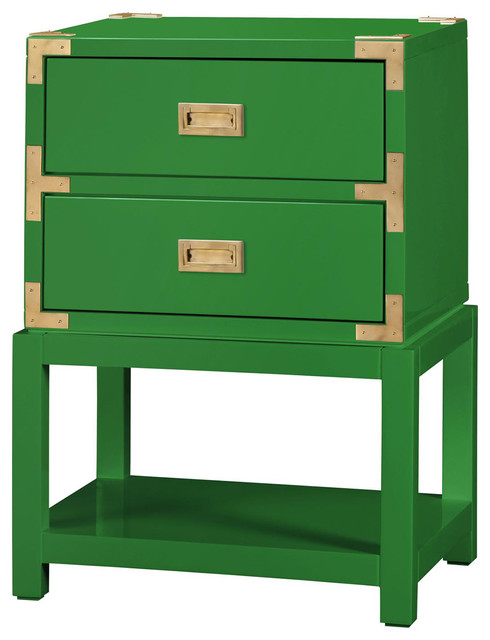 Bungalow 5 Tansu 2 Drawer Side Table In Emerald Green Asian Side Tables