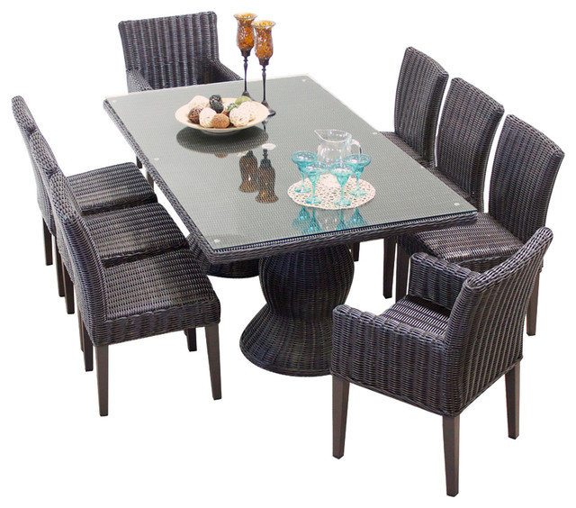 Rustico outdoor dining table with chairs 9 piece set for Dining table without chairs