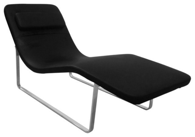 Fine mod imports longa chaise black modern chaise for Chaise longue tours