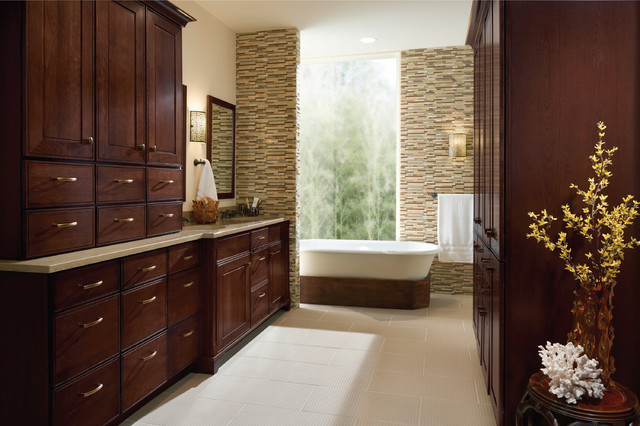 Kraftmaid - Garrison Cherry Bath Cabinets - Traditional - Detroit - by KraftMaid