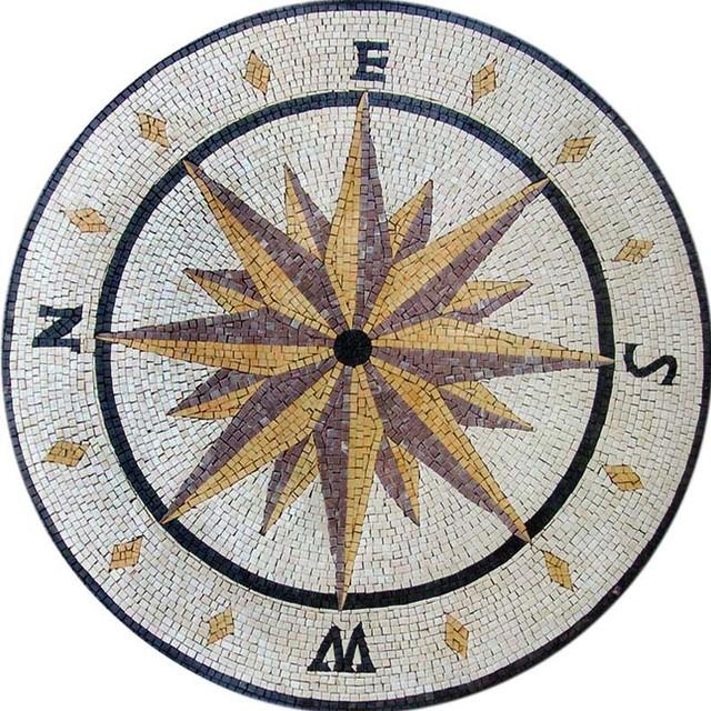 Nautical Compass Rose Rug: Mosaic Compass Design