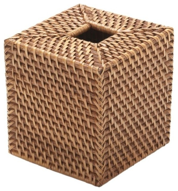 KOUBOO Rectangular Tissue Holders Rattan Box Cover Honey Brown