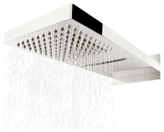 Wall Mount Waterfall Rain Showerhead, Chrome Brass