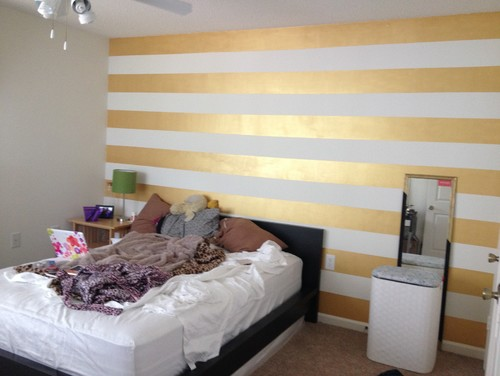 Help Needed With A Gold Striped Accent Wall - Striped accent walls bedrooms