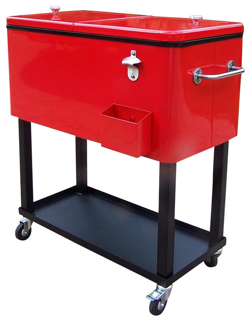 Steel 80 Qt Patio Cooler W Cart In Red Coolers