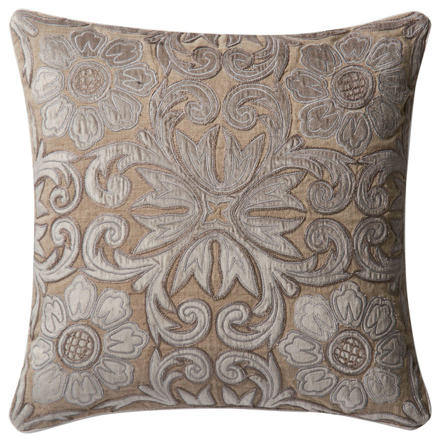 Down Throw Pillow Covers : Dset Pillow Cover With Down, Silver and Taupe, 22