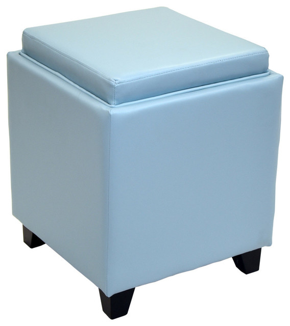 Contemporary Storage Ottoman With Tray, Sky Blue Contemporary  Footstools And Ottomans