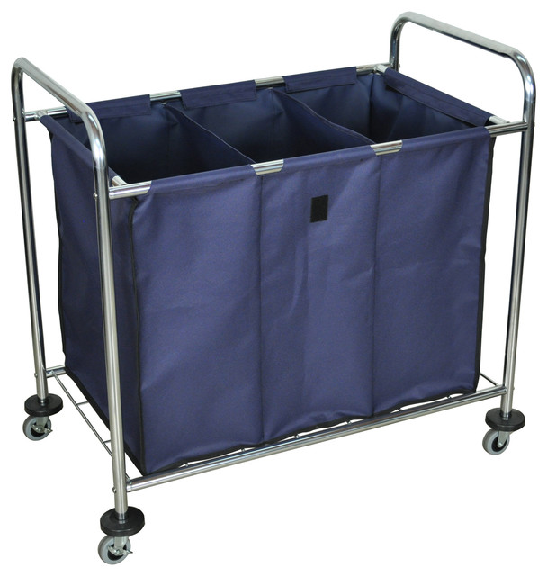 Luxor Rolling Heavy Duty Industrial Laundry Sorter Carts, Triple Dividers 2-Pack.