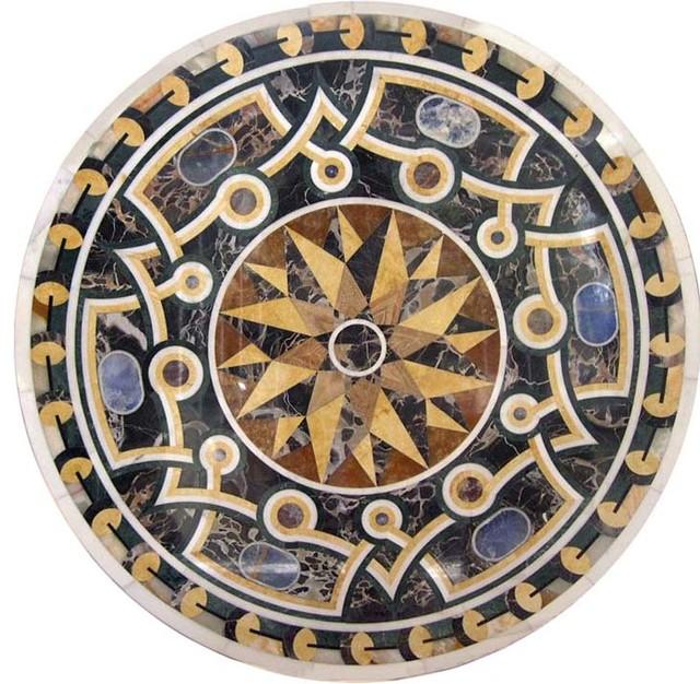 Western Inlay Floor Tile Circular Design : Circular marble tile design galileo mediterranean