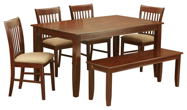 Duno6d mah kitchen table set transitional dining sets by 6 pc kitchen table with bench set table and 4 kitchen chairs and bench watchthetrailerfo
