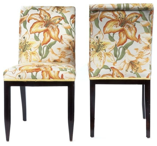 Floral Upholstered Dining Chairs, Pair   $1,100 Est. Retail   $440 On  Chairish.c
