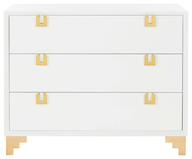 Odalis Lacquer Chest of Drawers, White