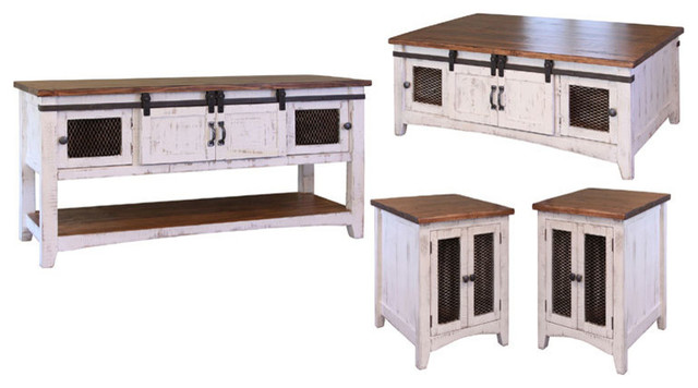 White Living Room Occasional Table 3 Piece Set