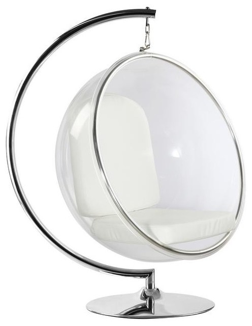 Acrylic Bubble Chair White Cushion With Stand by Imtinanz