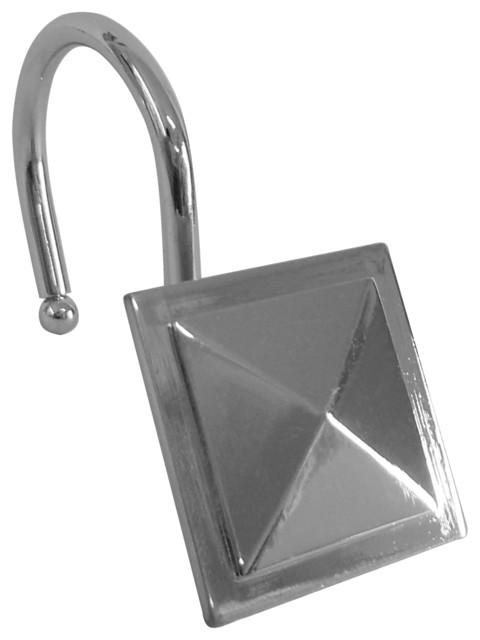 Shower Hooks Square Diamond Chrome Finish Contemporary Shower Curtain Rings By Elegant